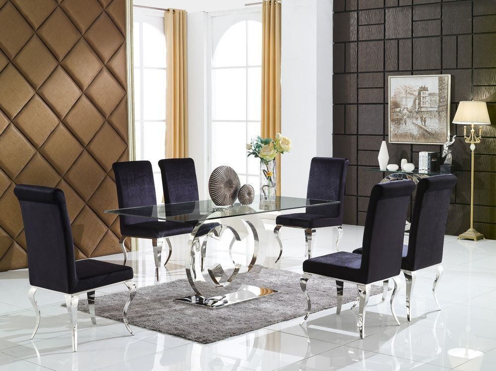 Chrome Cc Dining Table Glass With 4 Chairs Dining Table Furniture Dining Table Glass Dining Table