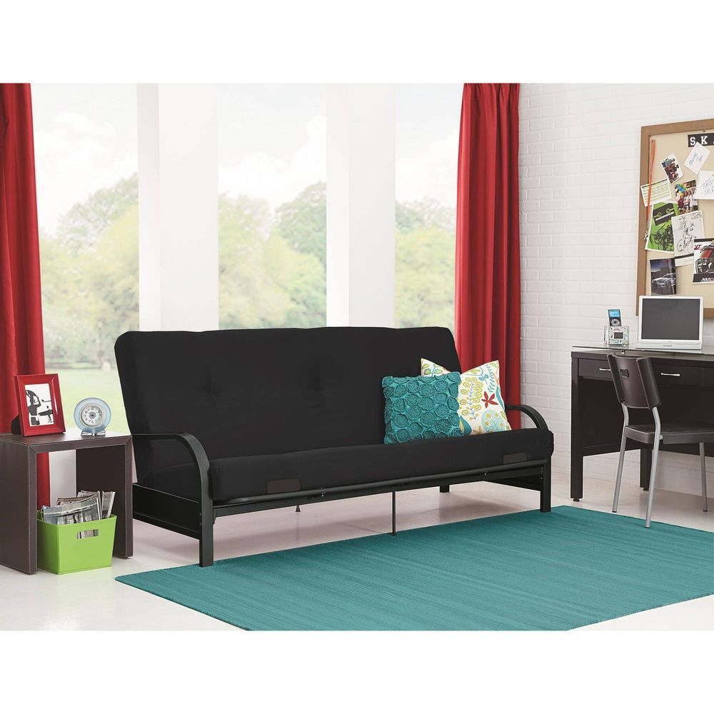 Futon Black Metal Frame Full Size Mattress Home Bed Sleep Couch Sofa Dorm New Ebay