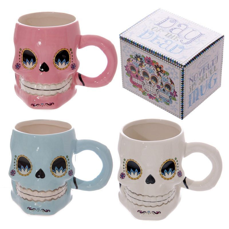 Day Of The Dead Funky Shaped Skull Floral Skeleton Shaped Ceramic Mug Gift Box
