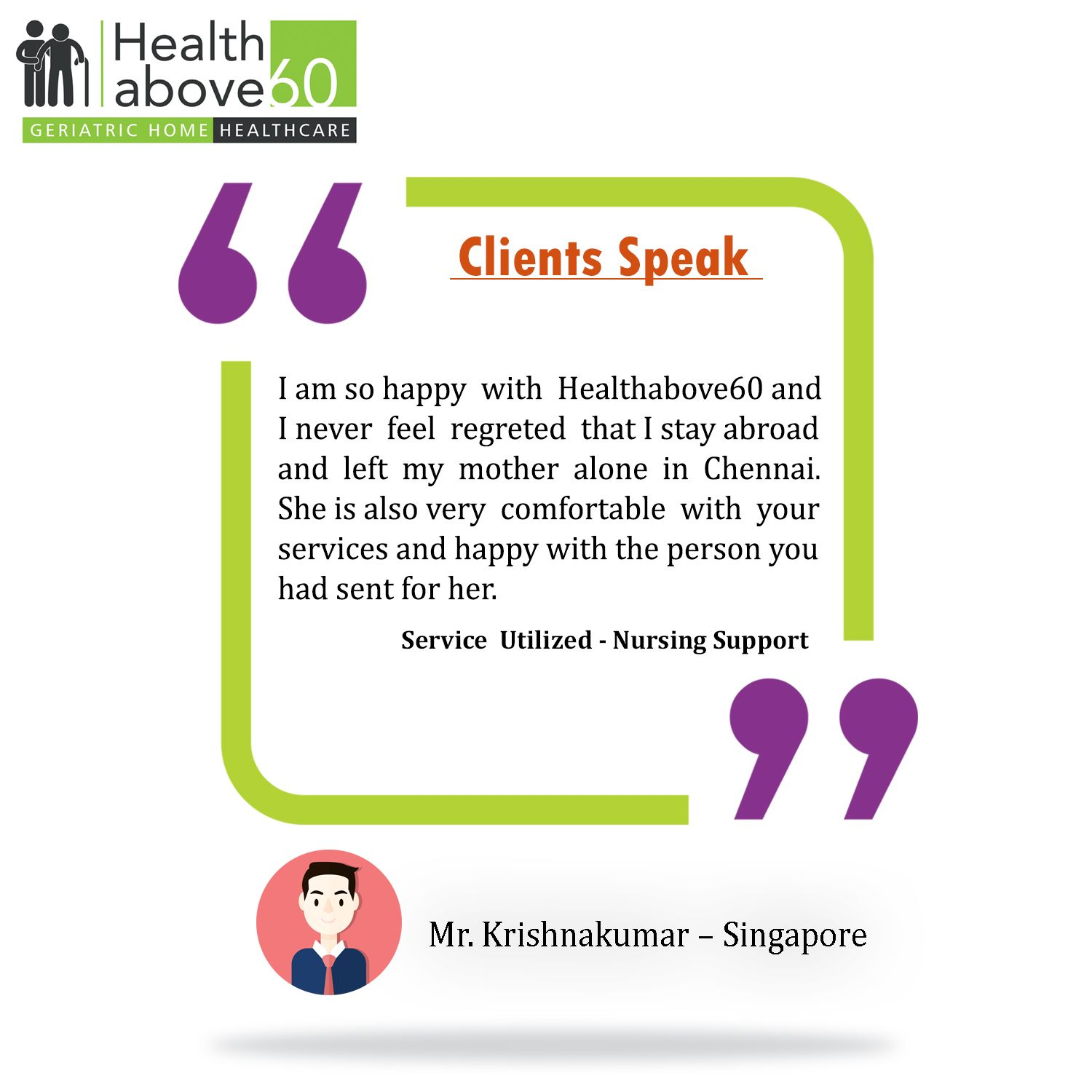 Our clients aren't just satisfied, they're delighted. #Healthabove60 #Testimonial