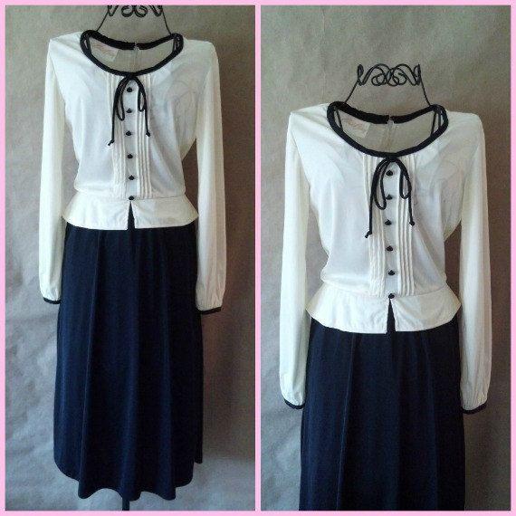 Vintage 1940s Dress peplum bow cream and black by RoryLaRueVintage, $50.00