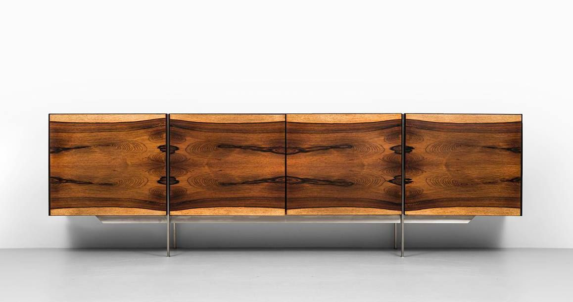 Rosewood And Steel Sideboard Designed By Ib Kofod Ln Made In Denmark The