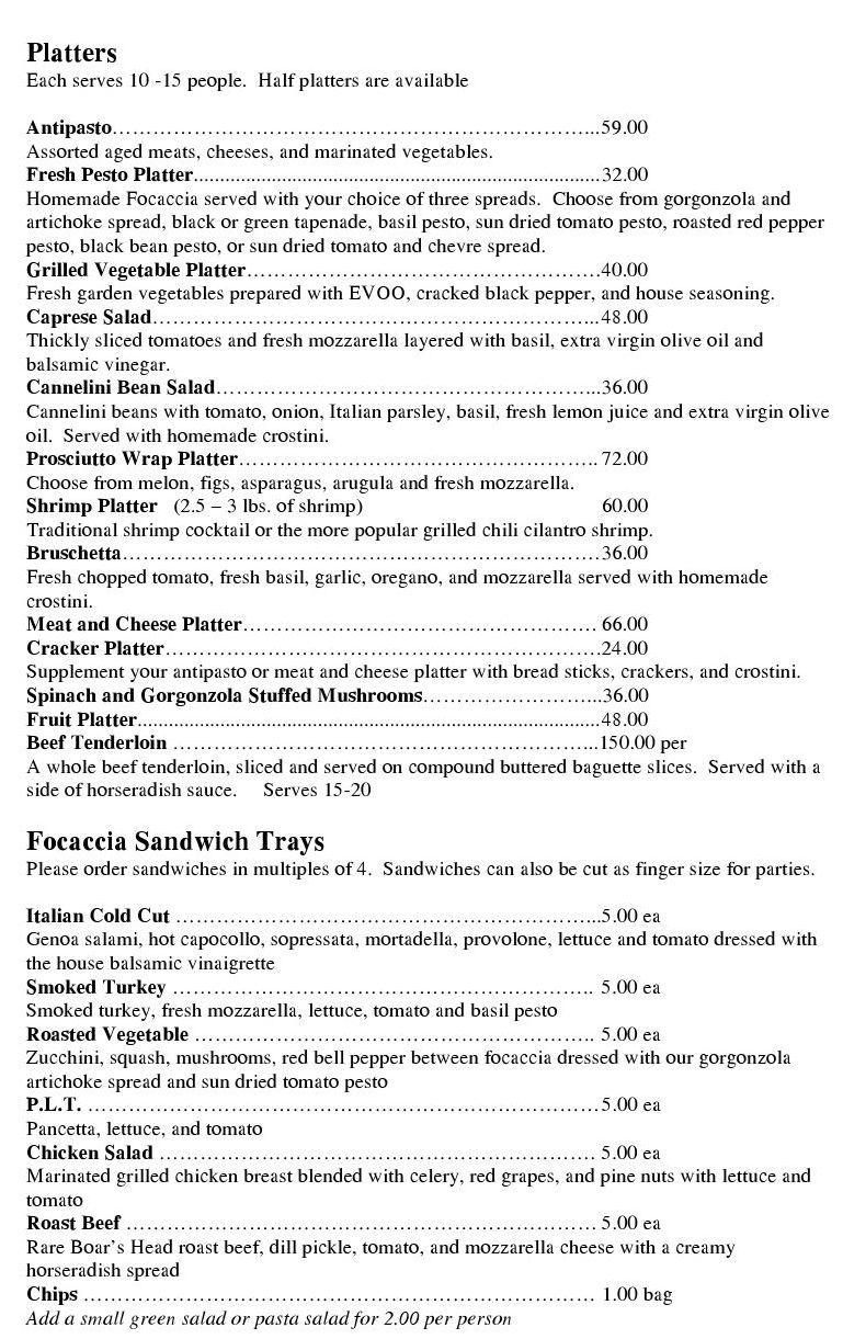 Pasta Provisions Catering Menu Catering Menu Wedding Catering Menu Food Stations Party