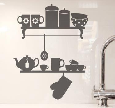 Adhesivo decorativo cocina estantes vinilo de cocina - Pegatinas para cocina ...