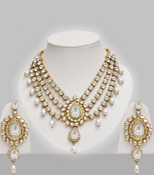Wedding Jewellery Set Studded With Stones Pearls Indian Jewelry