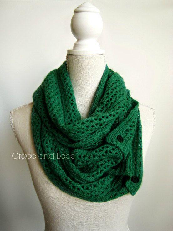 Nellie Knit Scarf Emerald Open Weave Knit By Graceandlaceco My