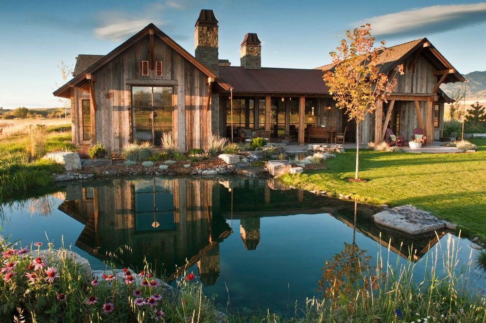 Water Feature And Rustic House . Love The Setting