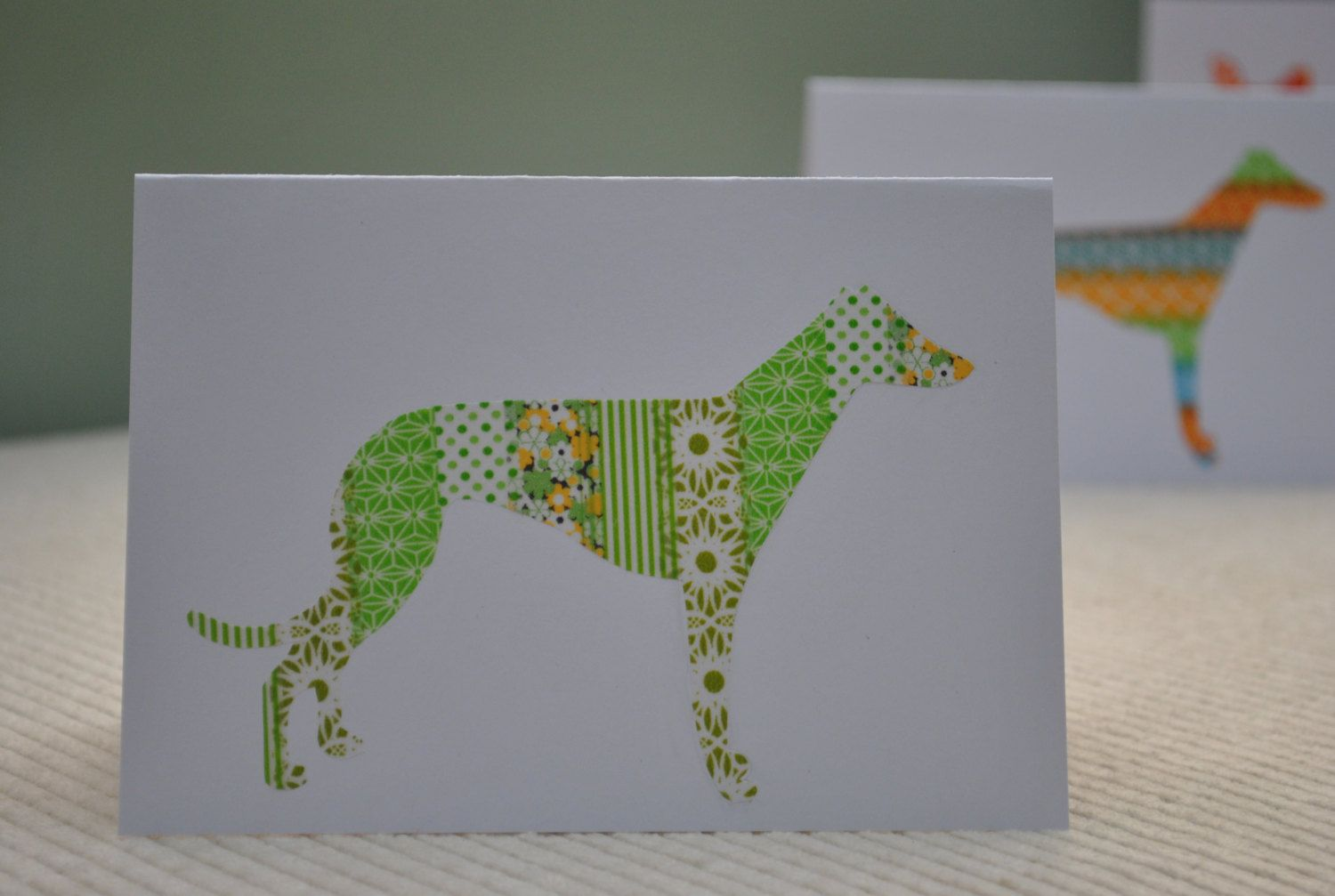 Hand Made Card Featuring A Lurcher Or Greyhound In Greens Use For