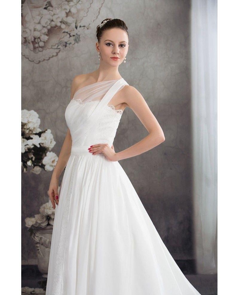 One strap wedding dress  One Strap Simple Aline Lace Wedding Dress OPH   GemGrace