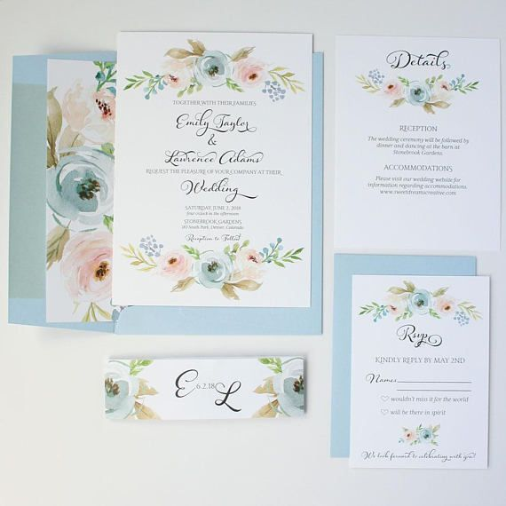 These Dusty Blue Wedding Invitations will help you set the tone