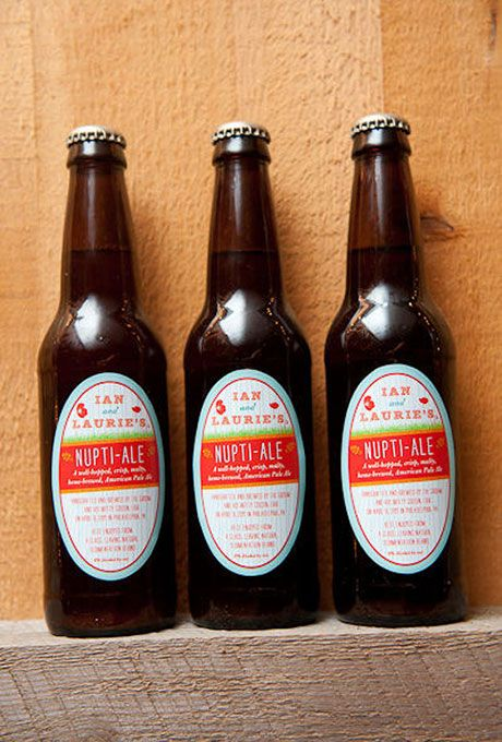 Bottles of Home-Brewed Beer. Home-brewed beer, crafted by the groom and his cousin, is a meaningful favor that will encourage guests to keep the party going all night long.