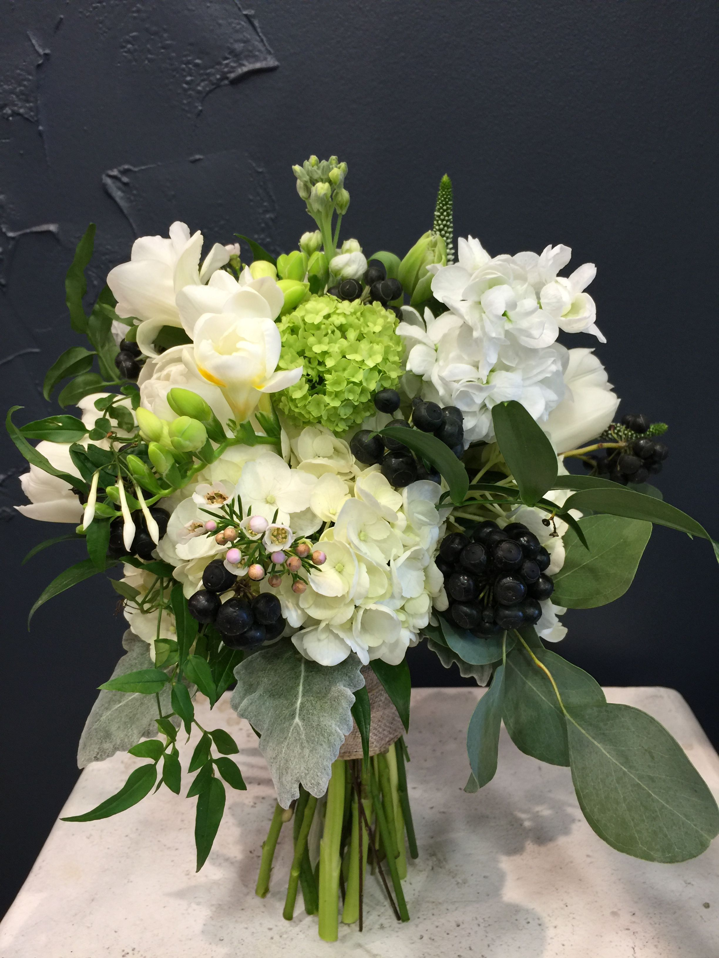 Beautiful Bridal Bouquet With Hydrangea Jasmine Freesia Genista Viburnum Veronica Eu Wedding Flowers Beautiful Bridal Bouquet Garden Rose Bouquet Wedding