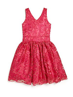 Un Deux Trois Girl's Embroidered Party Dress - Fuchsia