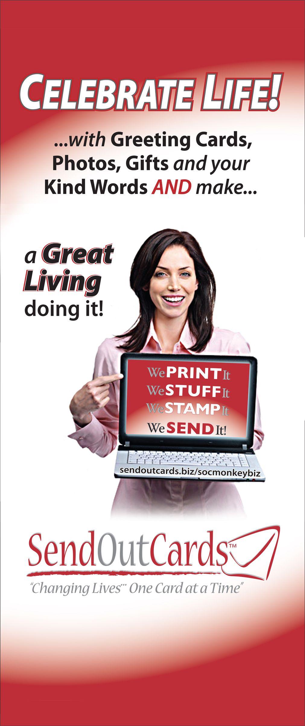 Send Out Cards vertical banner for vendor shows. www.sendoutcards ...