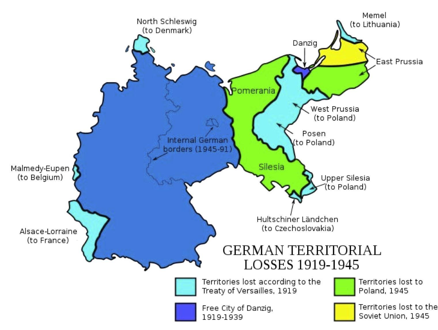 Alemania pérdidas territoriales desde 1919 a 1945