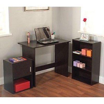 kids study black 3 piece home living bedroom desk bookcase dorm