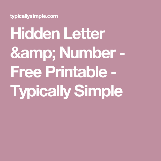 Hidden Letter  Number  Free Printable  Hidden Letters Number