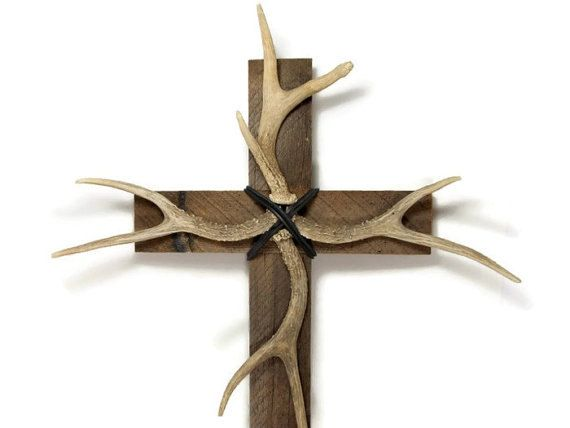 "deer antler, antler decor, 14"" x 24"", barnwood cross, western home"