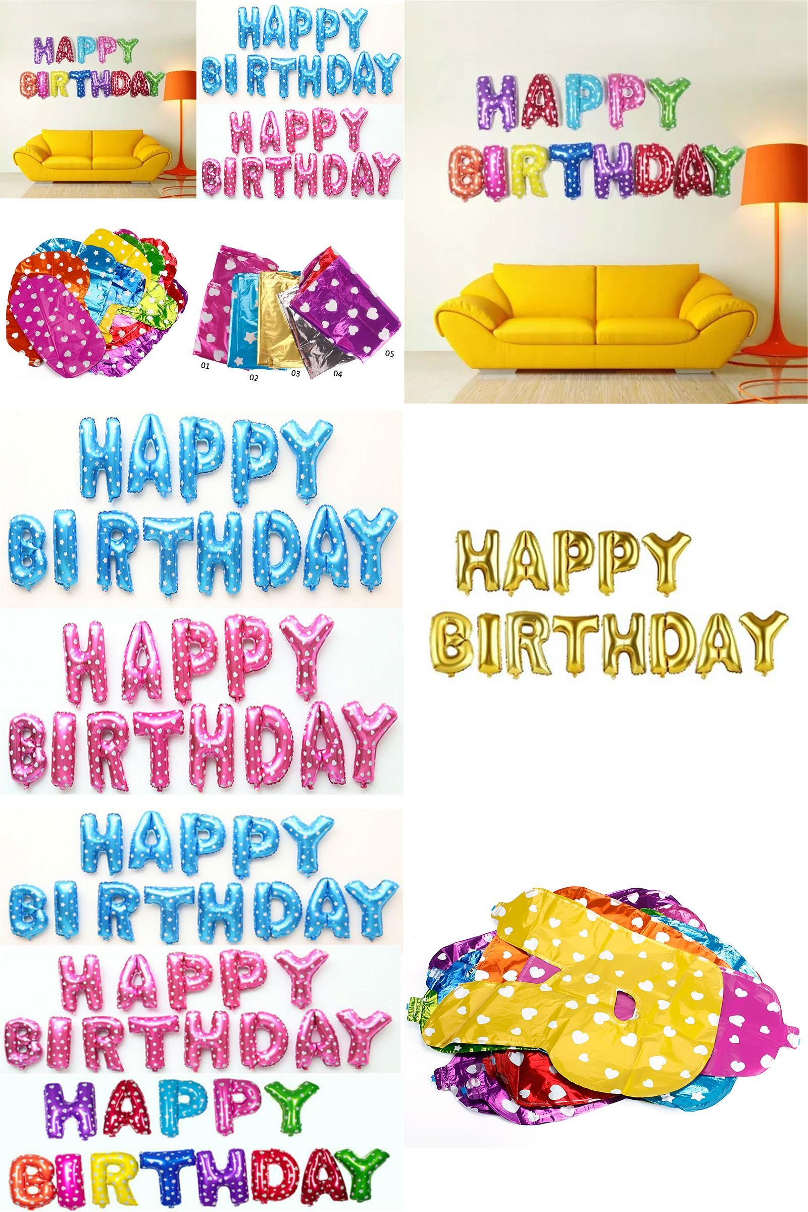 Visit to Buy] 13pcs lot Letter Happy Birthday BALLOON Aluminum Foil
