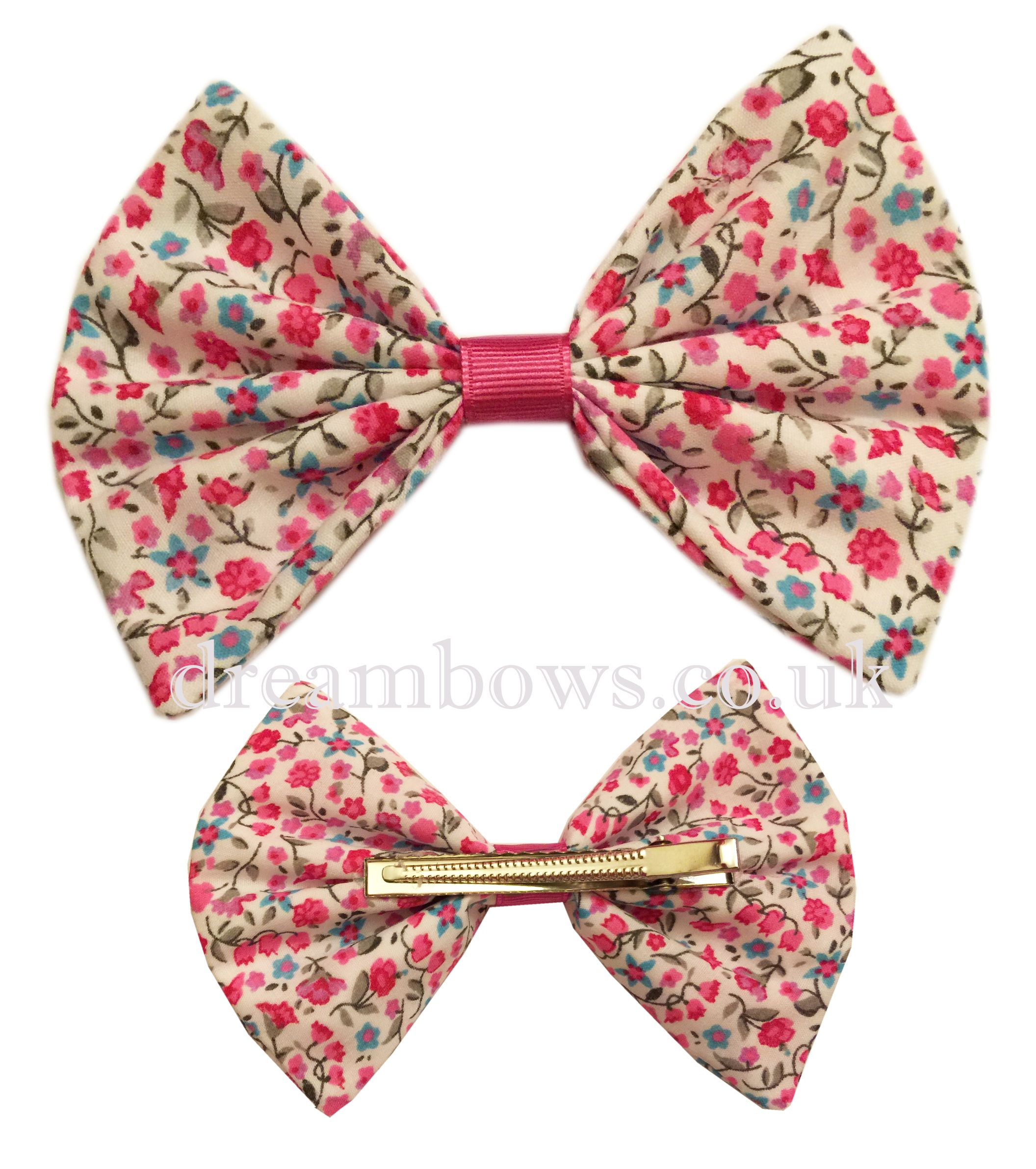 Pink and white large floral hair bow on crocodile hair clip for girls - www.dreambows.co.uk