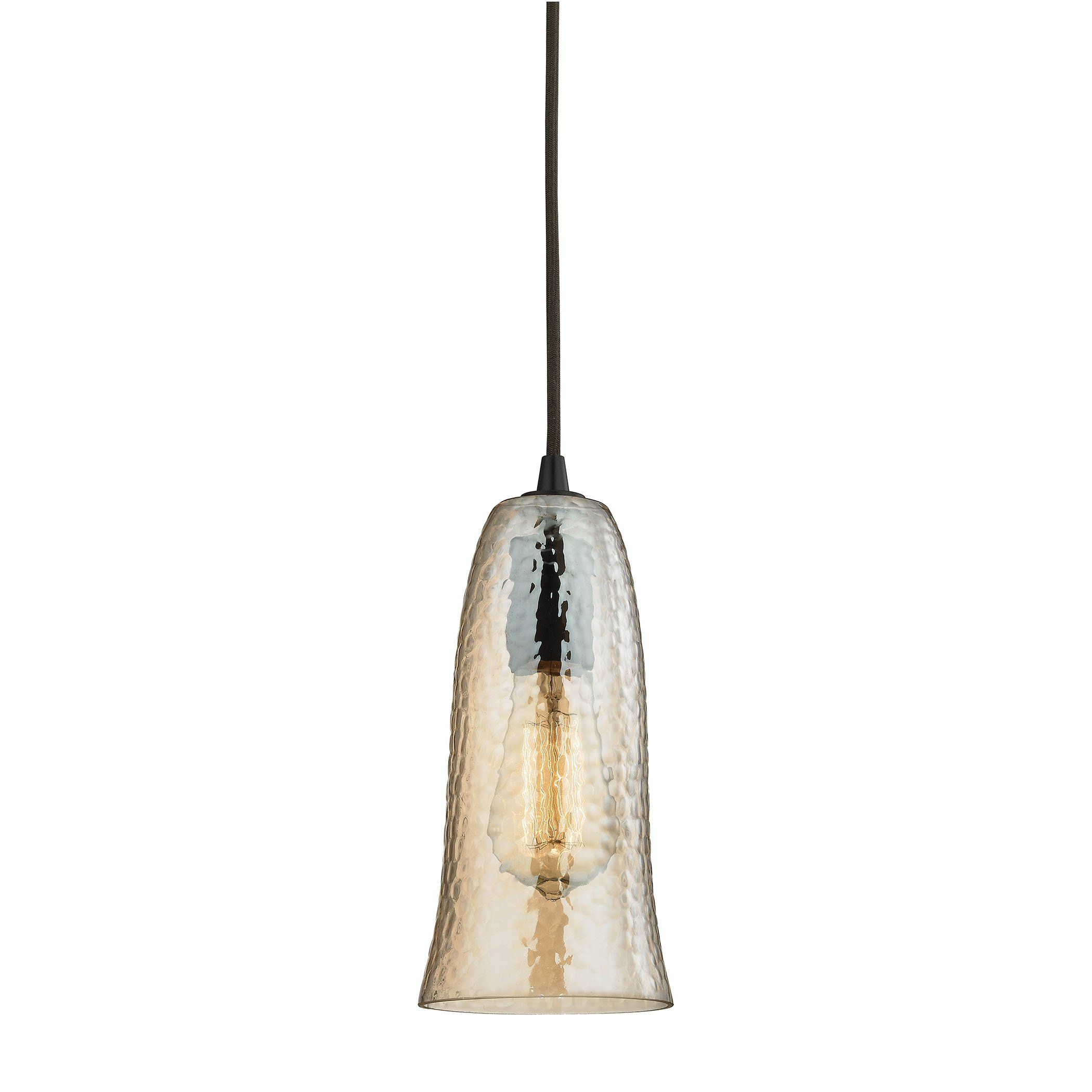 Hammered Glass Light Pendant In Oil Rubbed Bronze HAMP