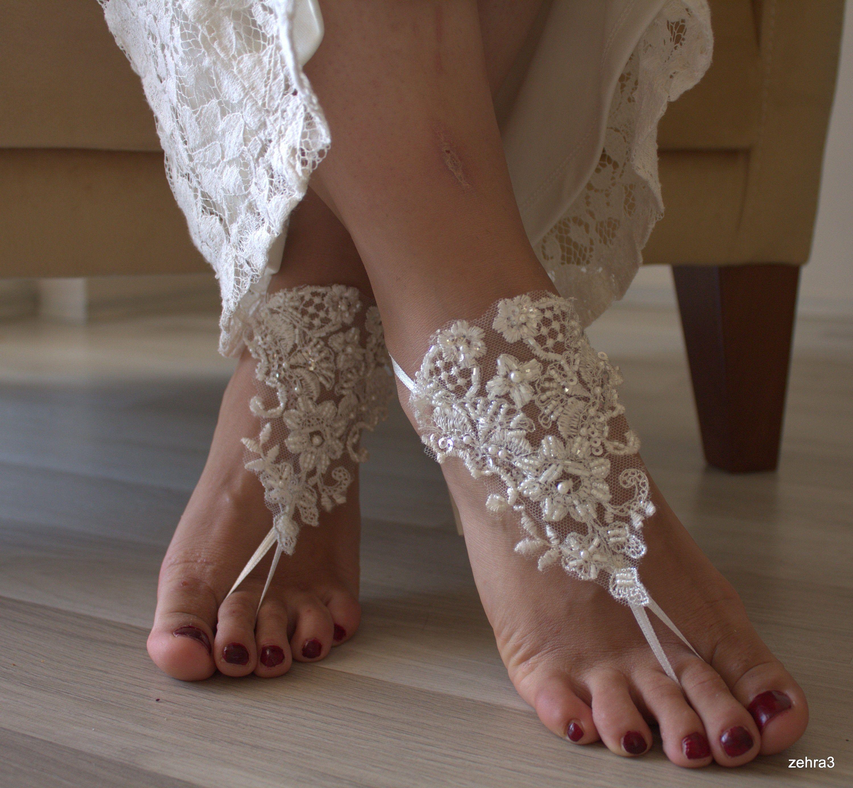 Bridal Barefoot,Barefoot Sandals, Beach Wedding Lace Sandals, Bridal Shoes, İvory Lace Sandals, Wedding Anklet,Barefoot Sandals