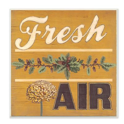 Stupell Industries 'Distressed Fresh Air Yellow with Pine Cones' Textual Art Wall Plaque