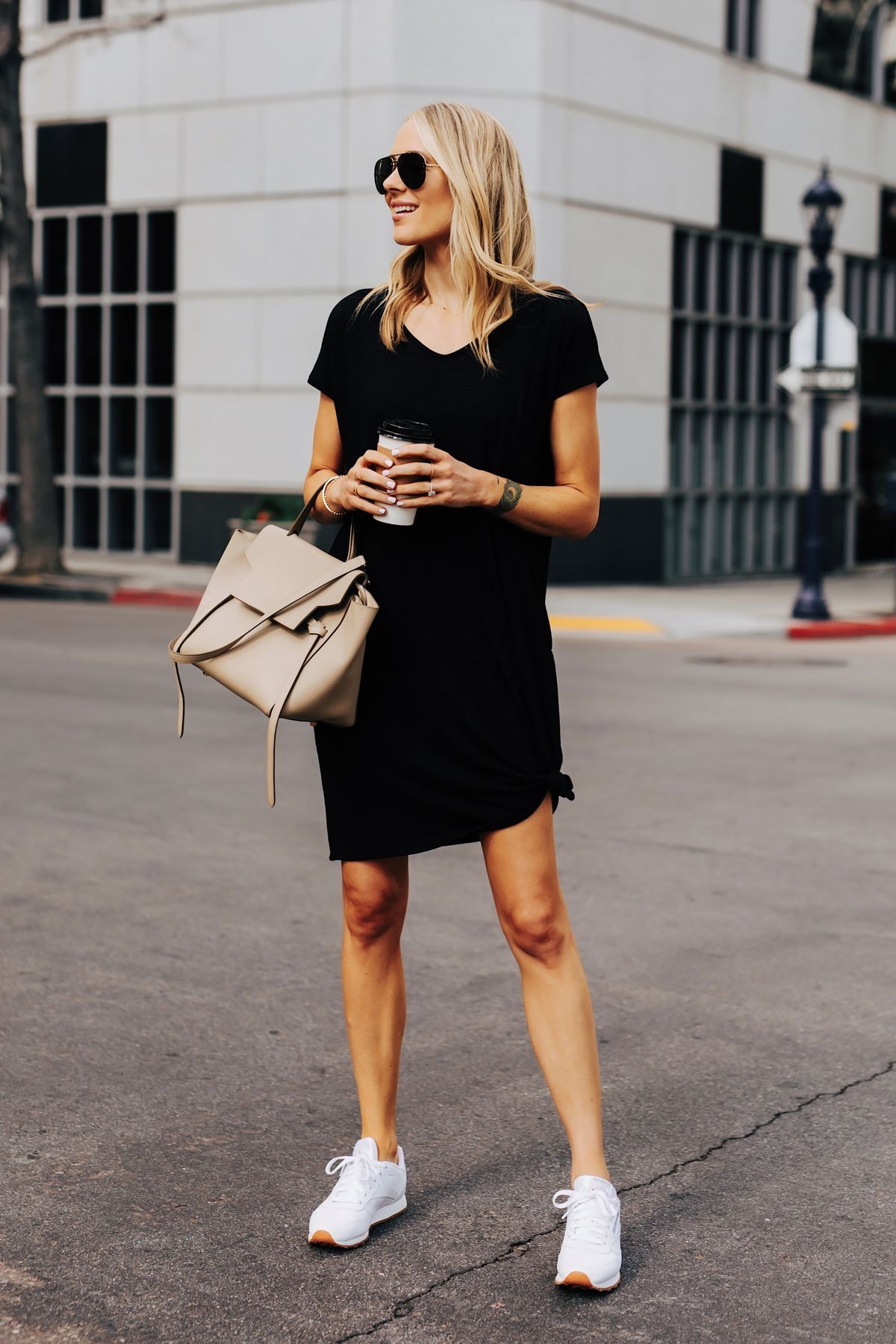 40 Ways To Style A Dress And Sneakers Daily Styled By Nicole Black Tshirt Dress Fashion Jackson Fashion [ 1800 x 1200 Pixel ]