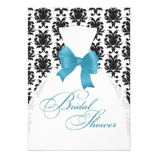 Elegant Damask Bridal Shower Wedding Dress Aqua Personalized Announcements