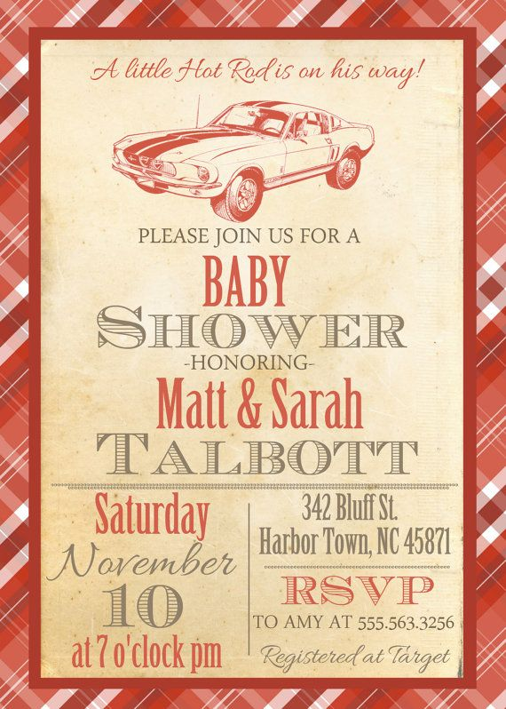 Little Hot Rod Vintage Baby Shower Invite by MilkAndCreamPrinting
