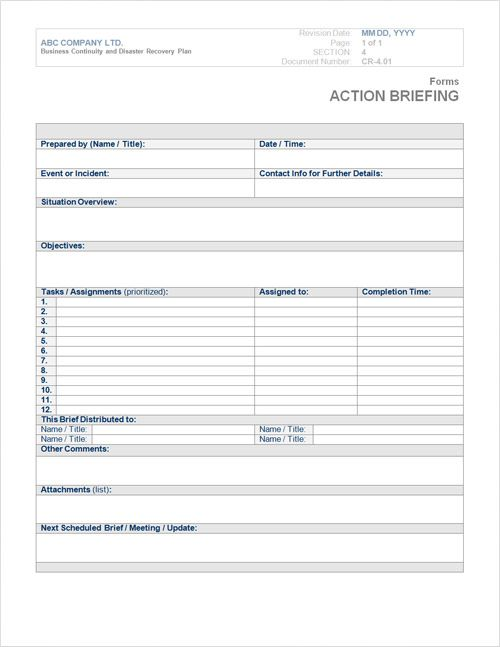 business plan template Below, is a sample business continuity - action plan sample template