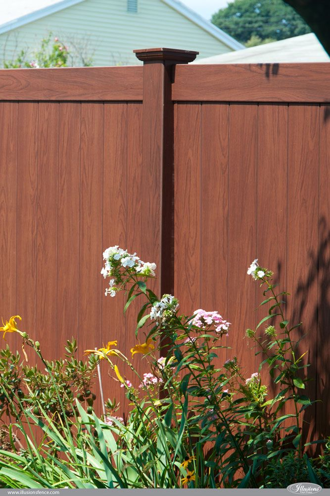 Rosewood Wood Grain Illusions PVC Vinyl Privacy Fence ...
