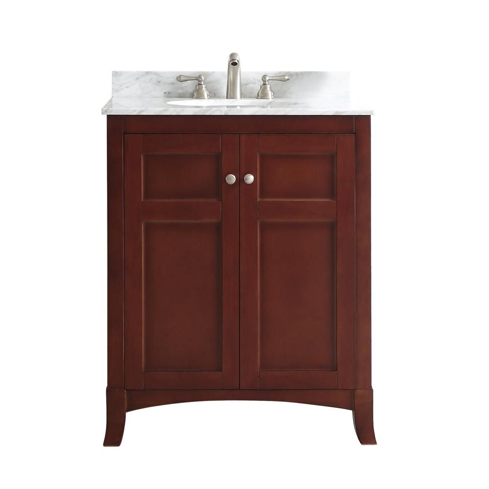 Vinnova Arezzo 30 in. W x 22 in. D x 36 in. H Vanity in Antique Cherry with Marble Vanity Top in Carrara White with Basin
