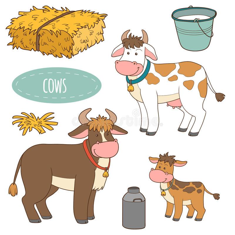 Sistema De Los Animales Del Campo Y De Los Objetos Vacas De La Familia Del Vector Ilustracion Del Vector Ilustracion De Vacas Animales Animales De La Granja