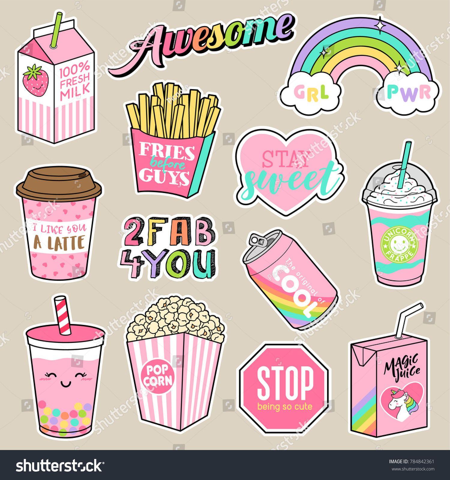 Set of girl fashion patches cute cartoon food badges fun