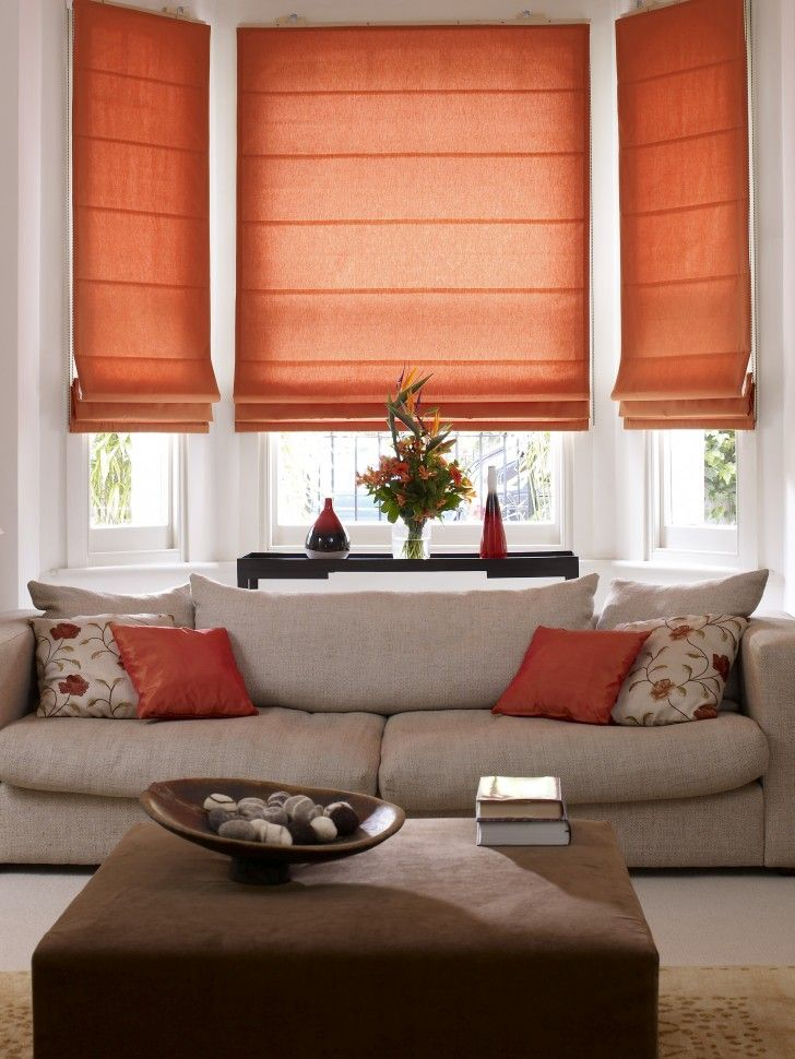 Windows, Charming Insulated Roman Shade For Interior Design In Beautiful  Living Room With Cool Orange Amazing Design