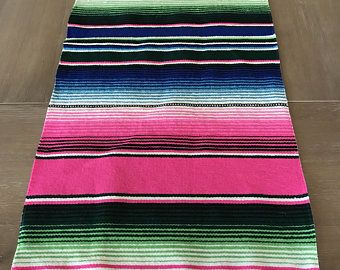 Mexican Serape table runner, Southwestern decor, tribal party decor, Fiesta decorations, striped rainbow pink. Pompoms OPTIONAL