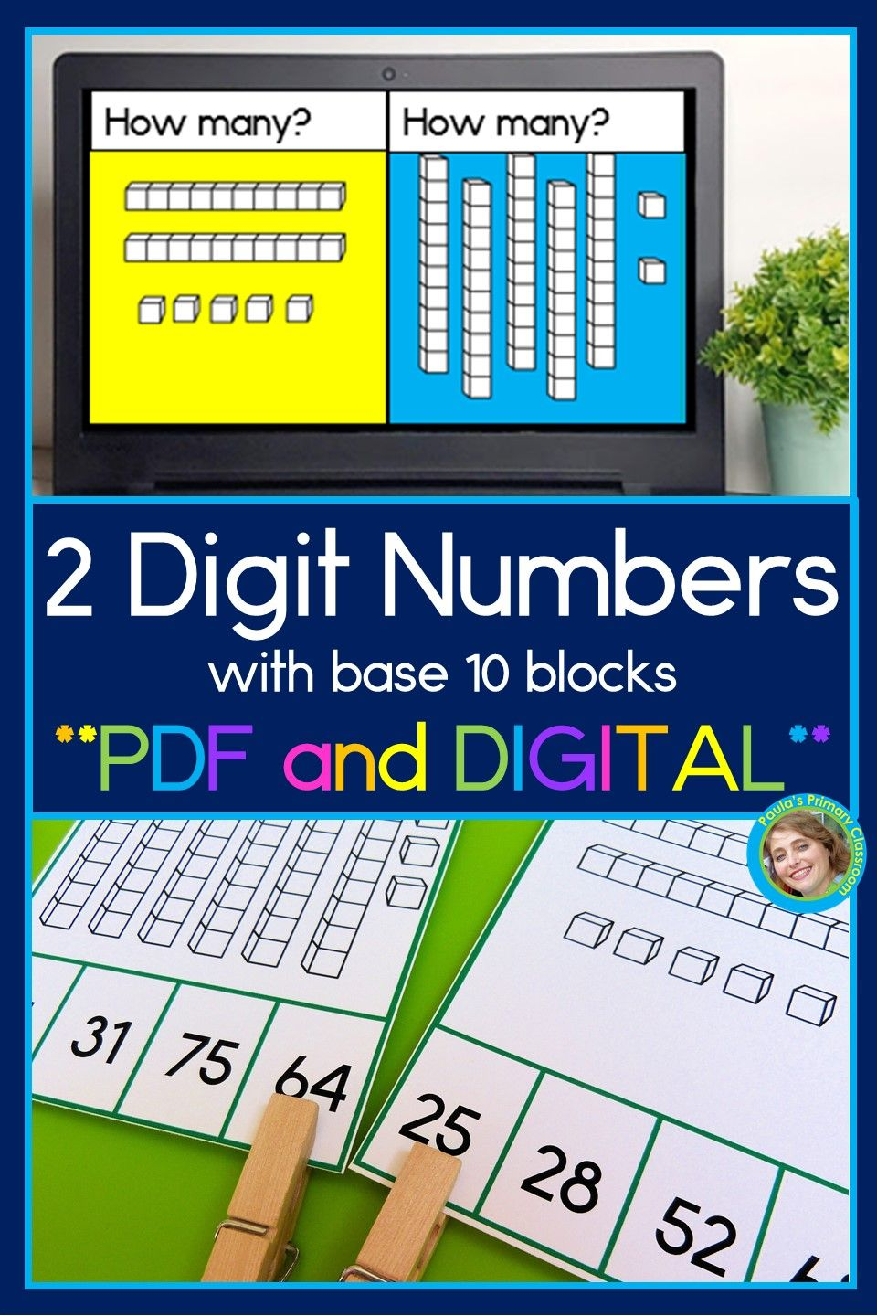 2 Digit Numbers With Base 10 Blocks Printable And Digital Task Cards For Math Practice Touch Math Math Practices Digital Task Cards Adding digit numbers with base 10