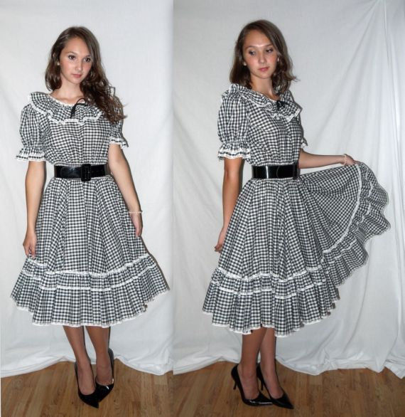 Dorothy.. Vintage 70s 50s Rockabilly Dress VLV Full Circle Skirt ...