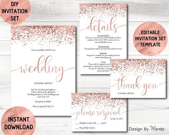 rose gold wedding invitation template calligraphy wedding