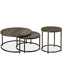 Link Wood Set of 2 Round Nesting Coffee Tables