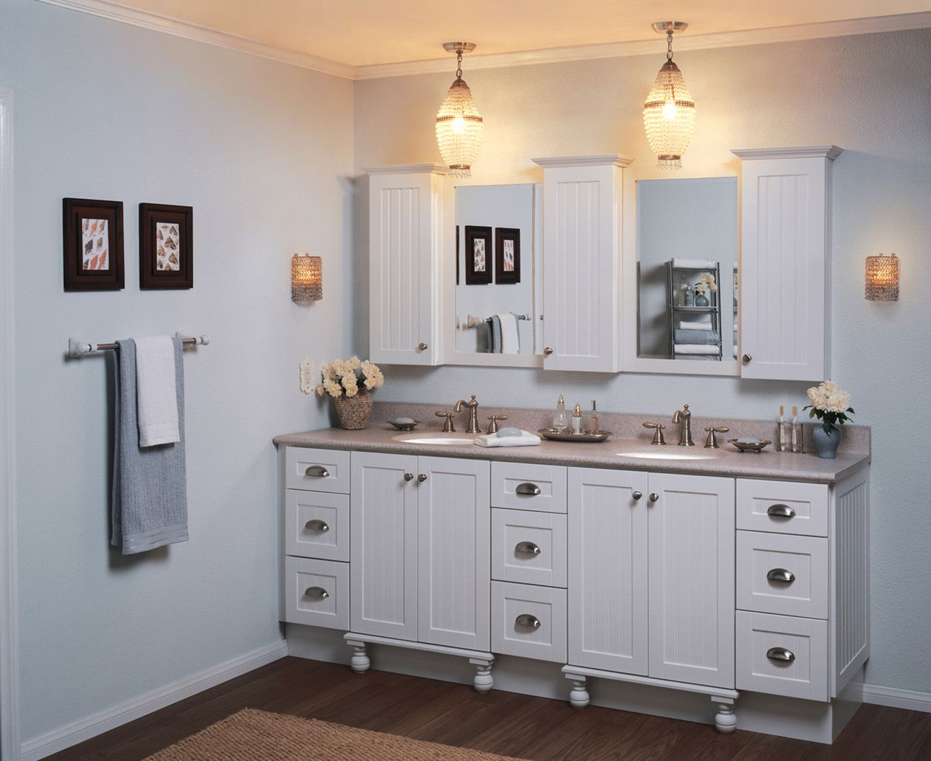 Traditional white bathroom ideas - Elegant Bathroom Vanity Decorated With White Color Design Made From Wooden Material And Small Traditional Bathroom