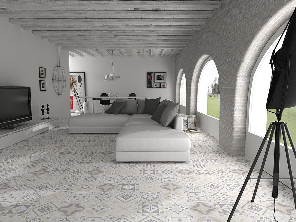 Open plan Mediterranean living room with textural contrast [Design: Walls and Floors]