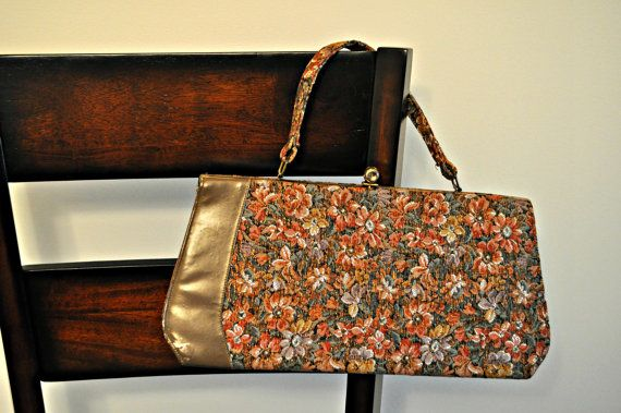 """SALE Vintage Designer """"Life Stride"""" Handbag, 1950's, Metallic Floral Classic Tapestry"""