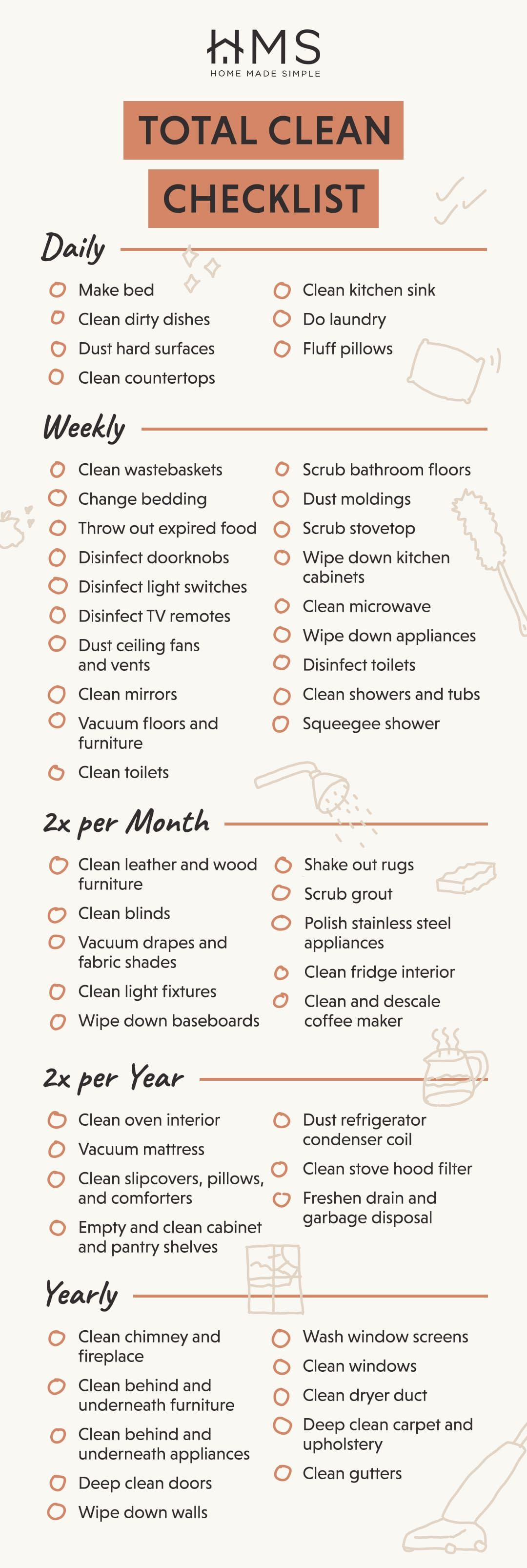 Your Whole House Cleaning Checklist