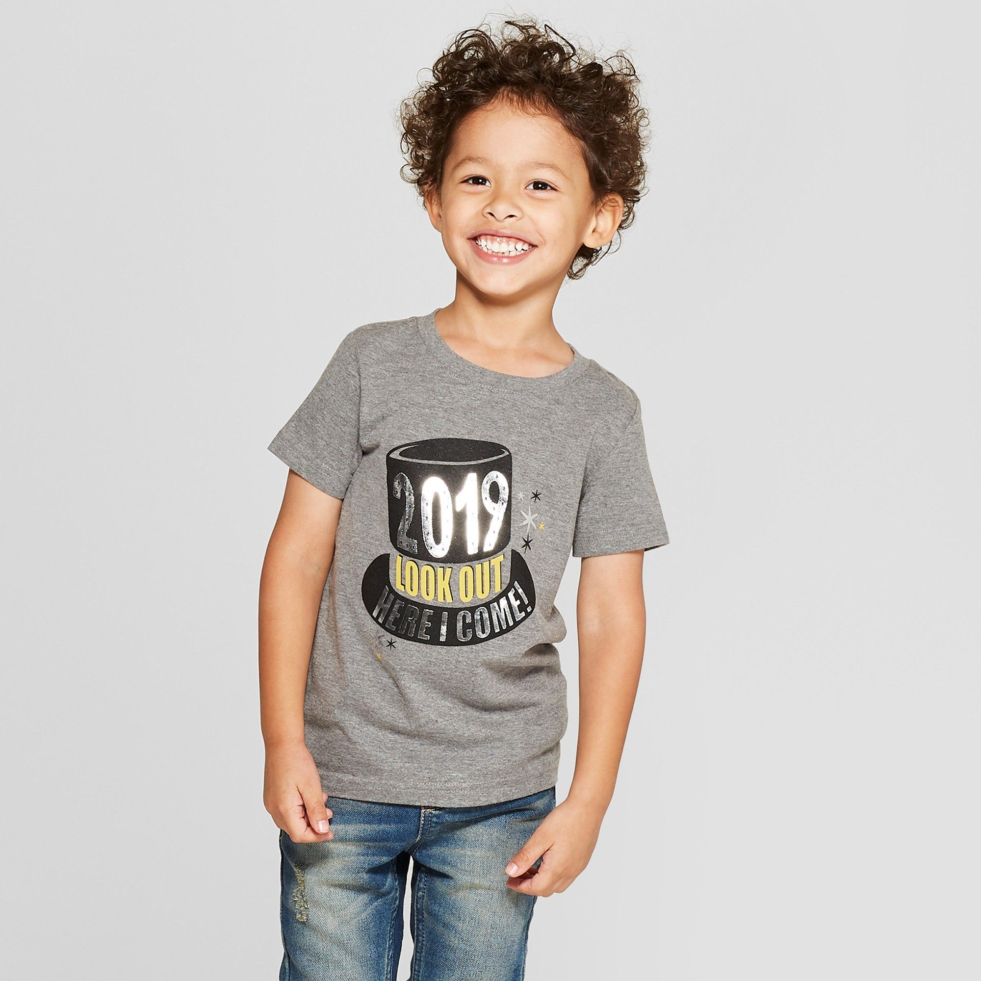 f7f6cf10873 Toddler Boys  2019 Look Out Here I Come Short Sleeve T-Shirt - Cat   Jack  Black 12M