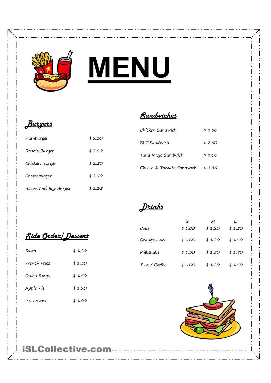 Ordering In A Fast Fast Restaurant Math Worksheets Menu Restaurant Everyday Math [ 1440 x 1018 Pixel ]