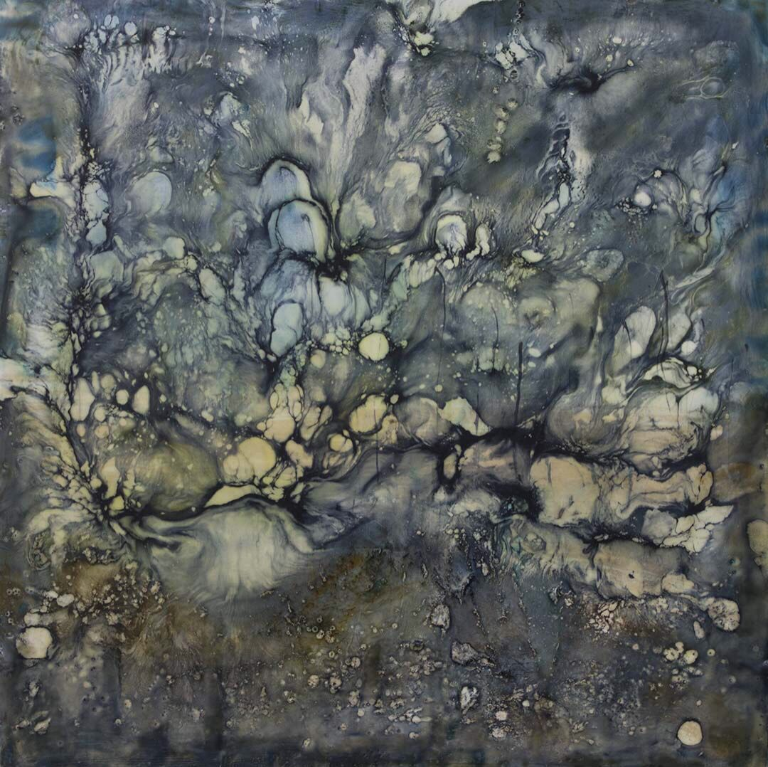 """River Stones"" encaustic on cradled panel, 20 x 20 inches"