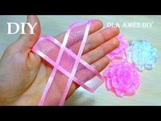 DIY Ribbon Roses| Цветы из органзы Канзаши| Easy Organza Flowers Making| Ribbon Tricks| Ola ameS DIY - YouTube #ribbonflower