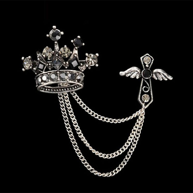 7c73fbf66 Find More Brooches Information about Fashion Trendy Silver Plated Brooch  Pins for Men Crystal Men's Collar